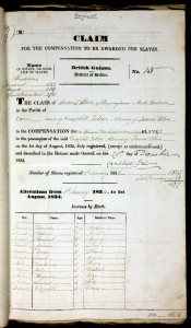 Original claim form for James Blair, awarded £83,530 in compensation for ownership of 1,508 people in British Guiana in August 1834. National Archives at Kew.