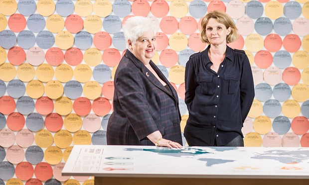 Barbara and Sophie, both dressed in black, stand between a table with a map of the world and a wall of coloured (blue, yellow, red and pink) discs on which exhibition visitors have written their own or their family's migration or non-migration stories.