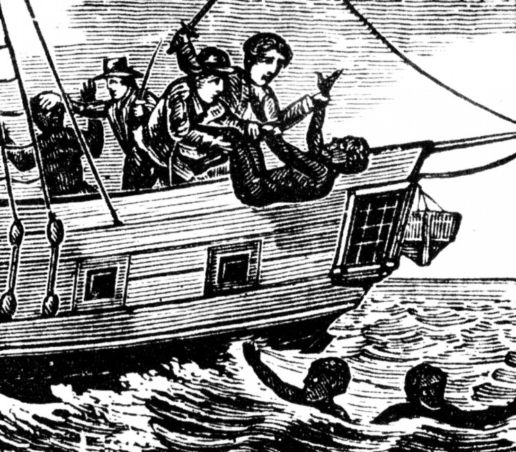 BM6GC1 ZONG MASSACRE - contemporary woodcut of the mass-killing of African slaves in 1781 thrown overboard from the ZONG trading ship